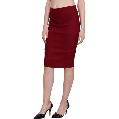 TANNURA FASHION Solid Women Pencil Maroon Skirt