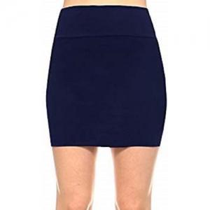 Magnus Solid Women Pencil Dark Blue Skirt