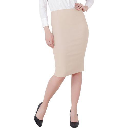 TANNURA FASHION Solid Women Pencil Beige Skirt