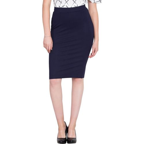 NGT Solid Women Pencil Dark Blue Skirt