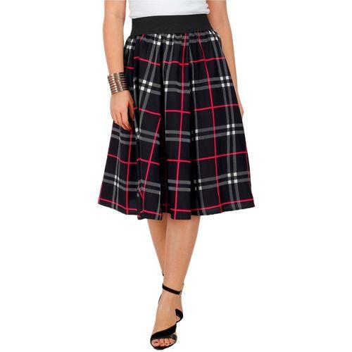 FabnFab Checkered Women Pleated Black Skirt