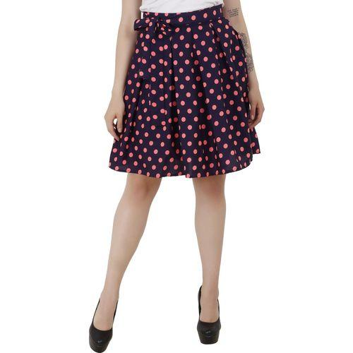 Emeros Polka Print Women Pleated Dark Blue, Pink Skirt