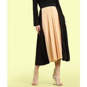 Insua Solid Women Pleated Black, Beige Skirt