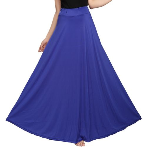 Shopping World Solid Women Regular Blue Skirt