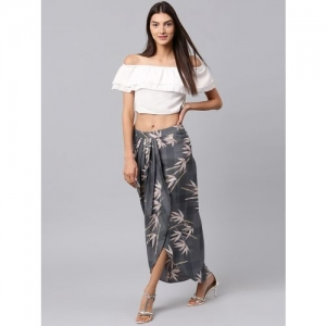 Athena Floral Print Women Tulip Grey Skirt
