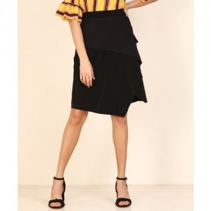 AND Solid Women Tulip Black Skirt
