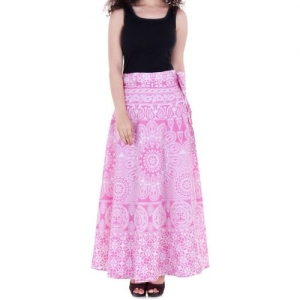 VAIDIKI Paisley, Floral Print Women Wrap Around Pink Skirt