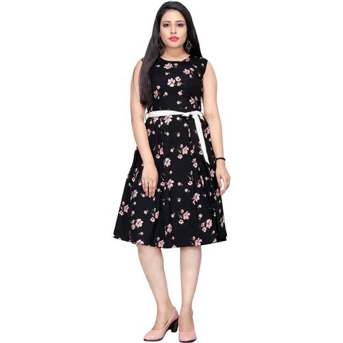 B4U Black Crepe A-line Dress