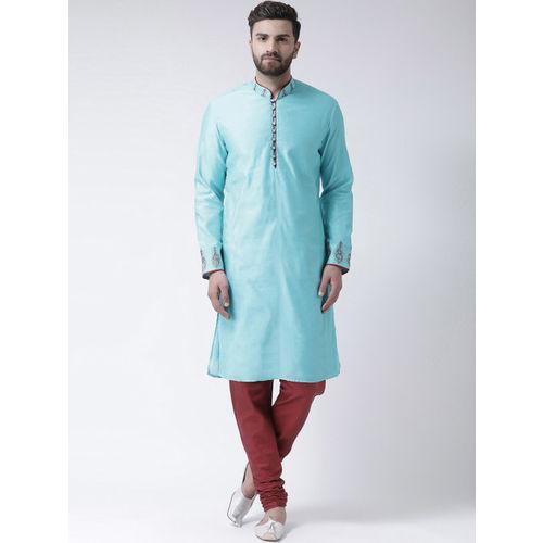 I Know Men Blue Printed Chanderi Silk Straight Kurta