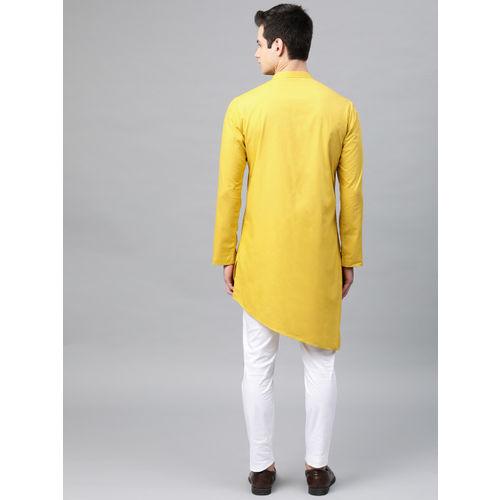 See Designs Men Mustard Yellow Solid Straight Kurta