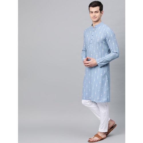 See Designs Men Blue & White Printed Straight Kurta