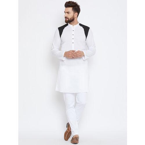 See Designs Men White & Black Colourblocked Straight Kurta