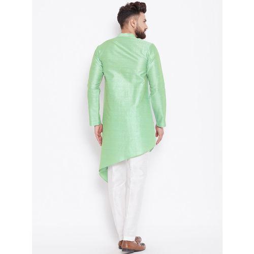 See Designs Men Lime Green Woven Design Straight Kurta