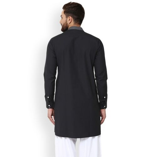 See Designs Men Black Solid A-Line Kurta