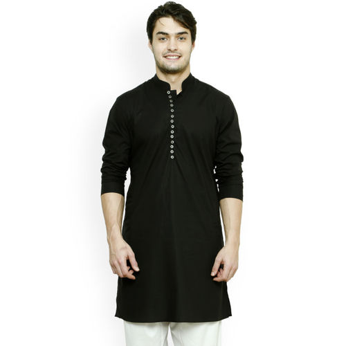 See Designs Men Black Solid Straight Kurta