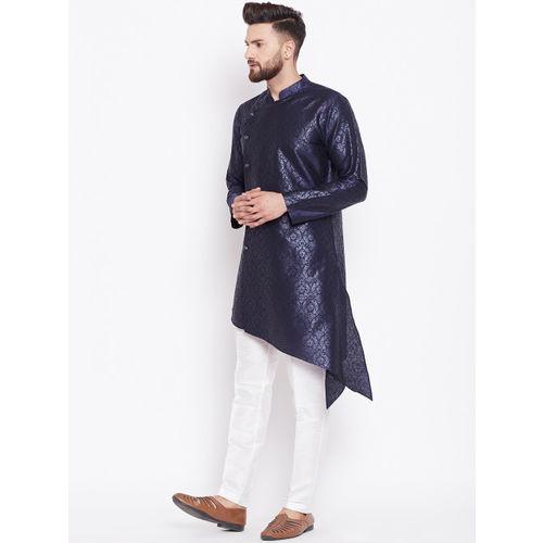 See Designs Men Navy Blue Woven Design Straight Kurta