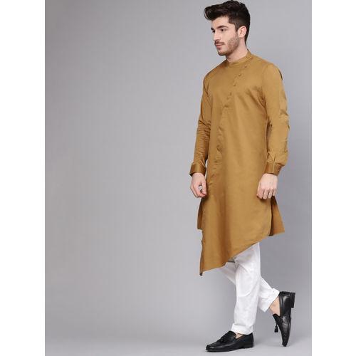 See Designs Men Brown Solid Straight Kurta