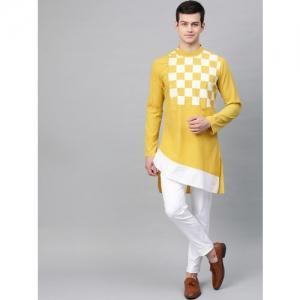 See Designs Men Mustard Yellow & White Yoke Design Straight Kurta