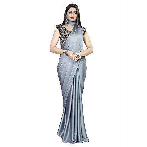 Cs Fashion Fashion Women's Satin Silk Shiny Glamourous Draped Saree with Brocade Blouse