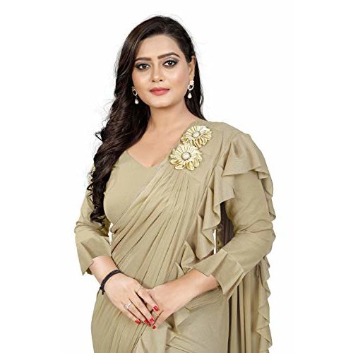 Aaradhya Fashion Imported Fabric Fancy Frill Ruffle Lycra Silk Saree with shoulder butta and Banglori Blouse