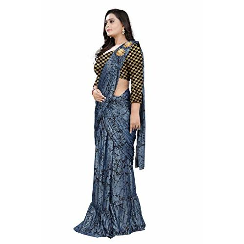 Aaradhya Fashion Imported Fabric Fancy Frill Ruffle Lycra Silk Readymate Saree with shoulder butta With Inner And Jaquard Blouse