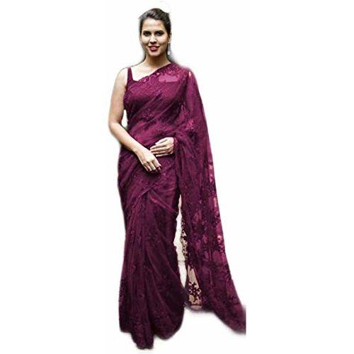 Generic Trendy Universe Women's Net Party Wear Saree with Blouse Piece (Purple)