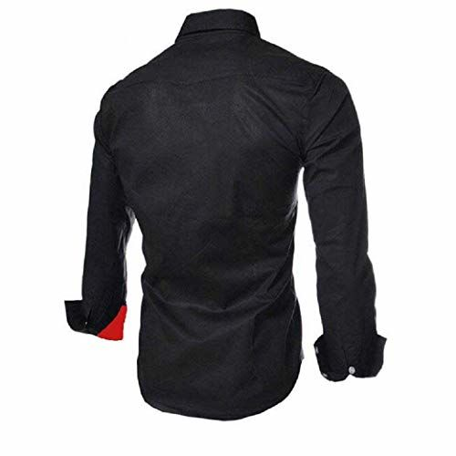 IndoPrimo Men's Cotton Casual Shirt for Men Full Sleeves (Black, M)