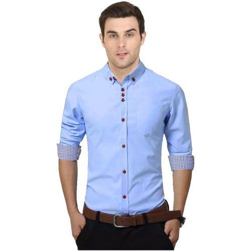 IndoPrimo Men Solid Casual Light Blue Shirt