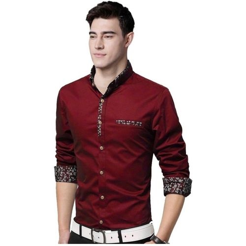 IndoPrimo Men Solid Casual Maroon Shirt
