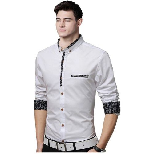 IndoPrimo Men Solid Party White Shirt