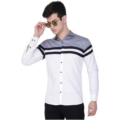IndoPrimo Men Self Design Casual White Shirt