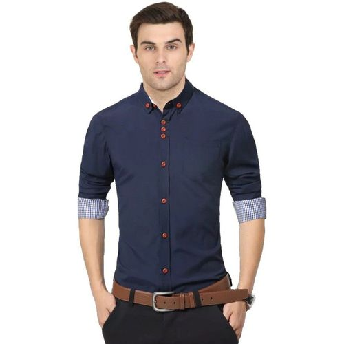 IndoPrimo Men Solid Casual Blue Shirt