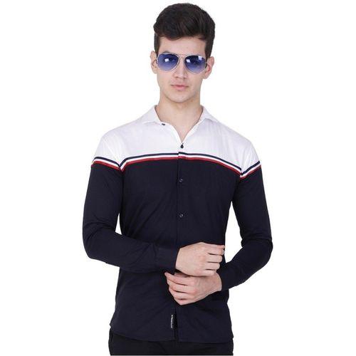 IndoPrimo Men Self Design Casual Blue Shirt