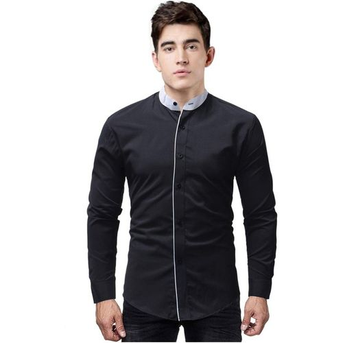 IndoPrimo Men Solid Casual Black Shirt
