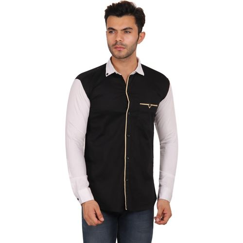 IndoPrimo Men Self Design Casual Black Shirt