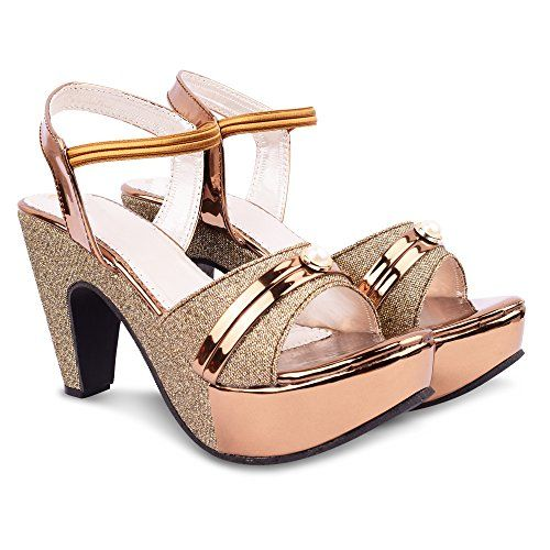 Denil Beige Synthetic Heels Sandal