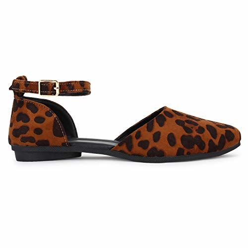 Alley Walk Bellies for Women's Casual Sexy Leopard Print Suede Bellies Sandal Ankle Strap Buckle Ballet Flat Tiger Print Bellies