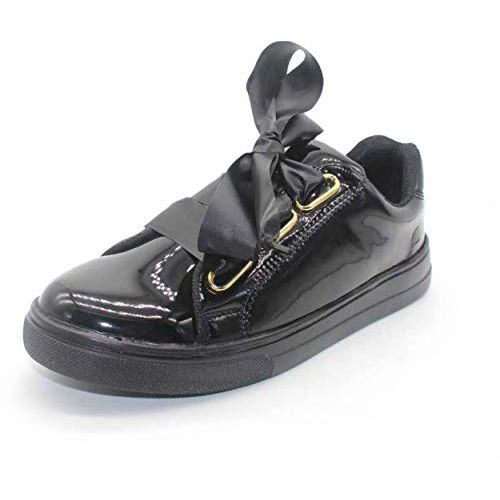 ZAPATOZ Black Synthetic Leather Bow Tie Design Casual Shoes/ Sneakers