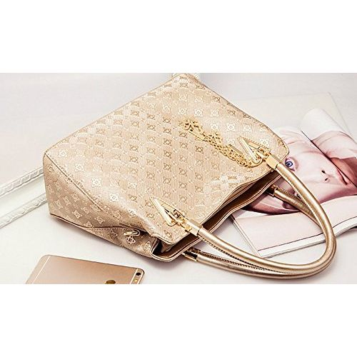 VEZELA PU Leather Shoulder Bags for Women - Shoulder Bags, Crossbody Bag, Handbag & PouchCard Holder Combo Set (Golden) - Hand Bags for Ladies (Golden) - Set of 4