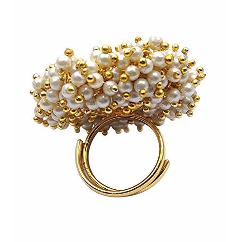 YouBella Jewellery Traditional Gold Plated Pearl Studded Ring for Women and Girls (Adjustable Size)
