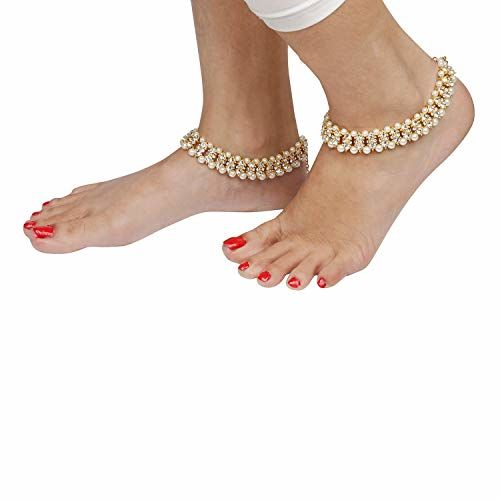Archi Collection Traditional Gold Plated Crystal Pearl Anklets Payal Jewellery for Women