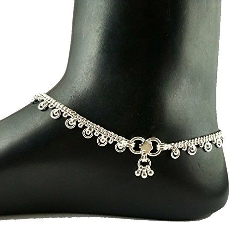 Kutchi Payal Handmade Silver Anklets for Women (10.5 Inches, Pair of 2)