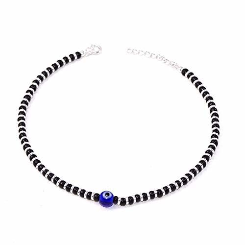 KUKSHYA 92.5% Exclusive Evil Eye Nazariya Payal (Anklet) with Black & Silver Beads (Crystal) in 92.5 Sterling Silver for Girls and Women - One Piece