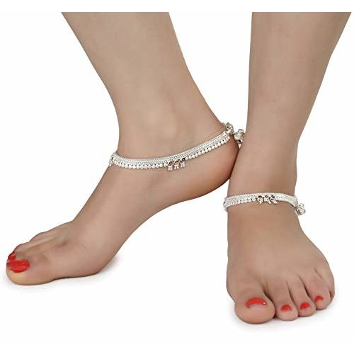 AanyaCentric Indian Traditional White Metal Anklets Payal Pair for Women Girls Fancy Collection with Silver Plating Attached Ghungroo Fashion Designer Barefoot