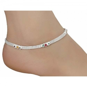 AanyaCentric Indian Traditional Anklets Payal for Women Girls Fancy Collection with Pure Silver Plating Plated Attached Ghungroo Fashion Designer Barefoot Foot