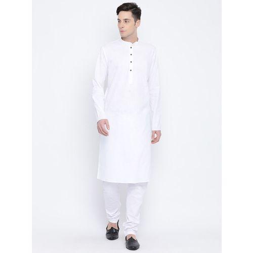 Namaskar Men's Solid Straight Kurta(White)