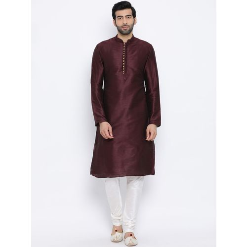 Namaskar Men Solid Straight Kurta(Brown)