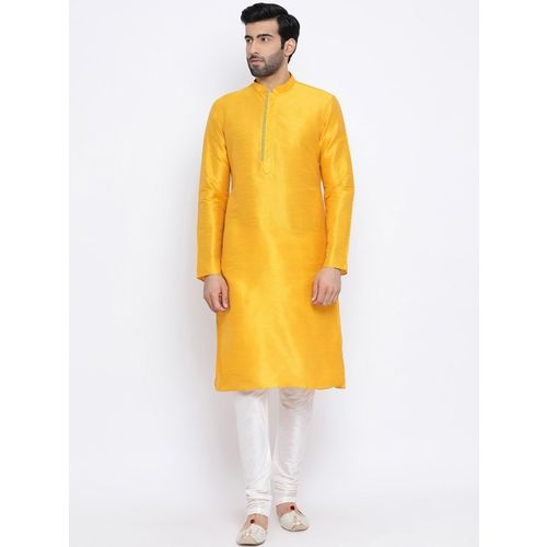 Namaskar Men Solid Straight Kurta(Yellow)