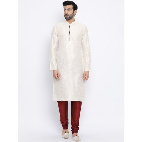 Namaskar Men Solid Straight Kurta(White)