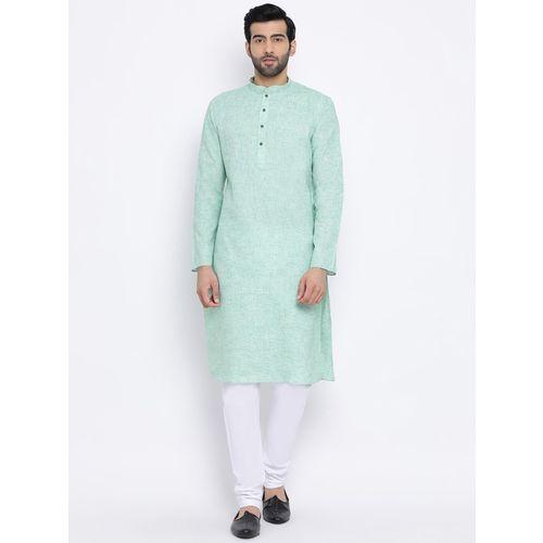 Namaskar Men's Solid Straight Kurta(Green)